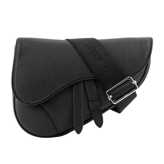 【Dior 迪奧】Mini Saddle 顆粒小牛皮馬鞍包(黑色)