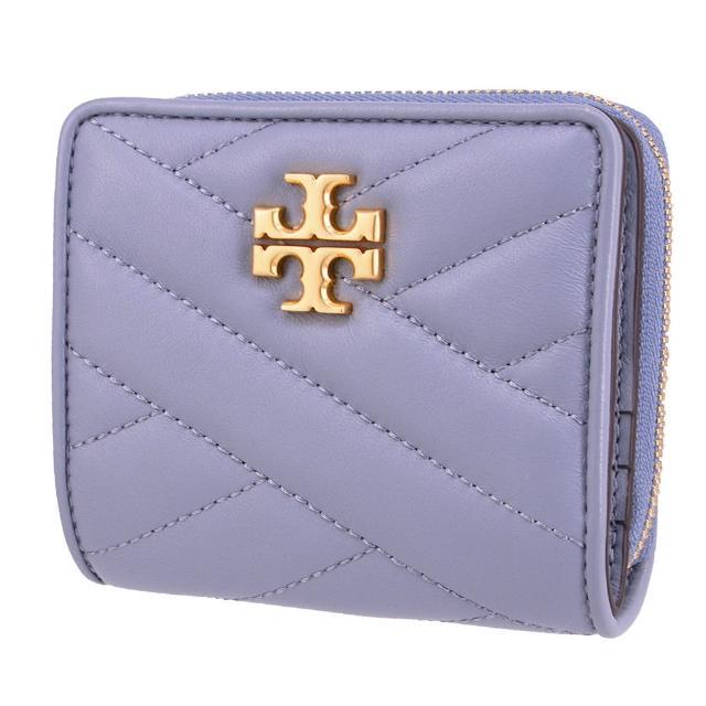 【TORY BURCH】KIRA系列 專櫃款 菱格小羊皮皮革 立體金LOGO 6卡 拉鏈零錢袋 對折壓扣短夾(時尚藍)