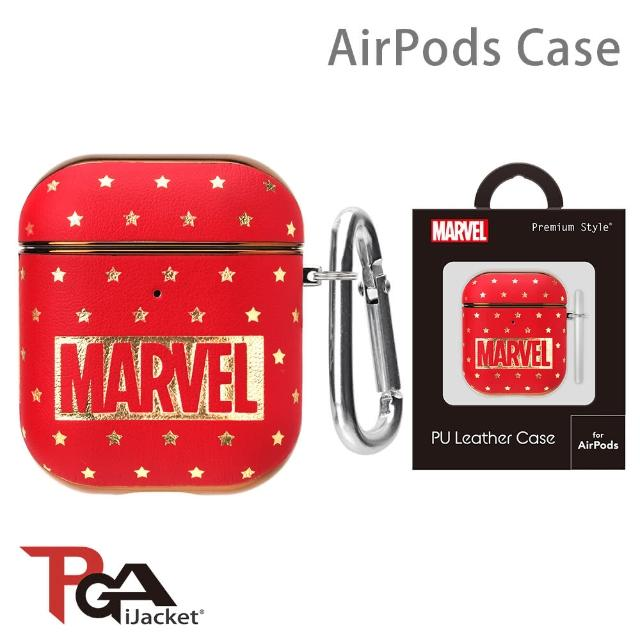 【iJacket】Marvel漫威 AirPods 箔押皮革 質感保護殼(Logo)