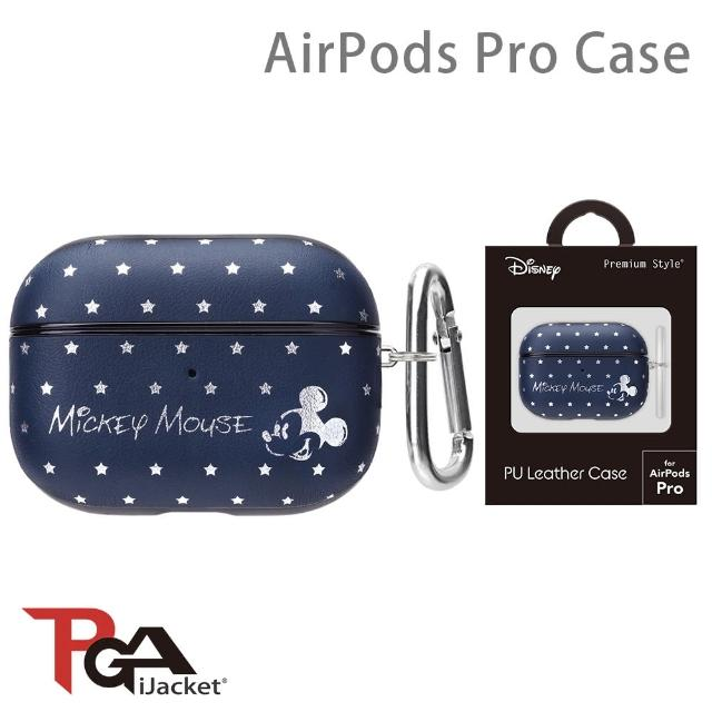 【iJacket】迪士尼 AirPods Pro 箔押皮革 質感保護殼(米奇海軍藍)