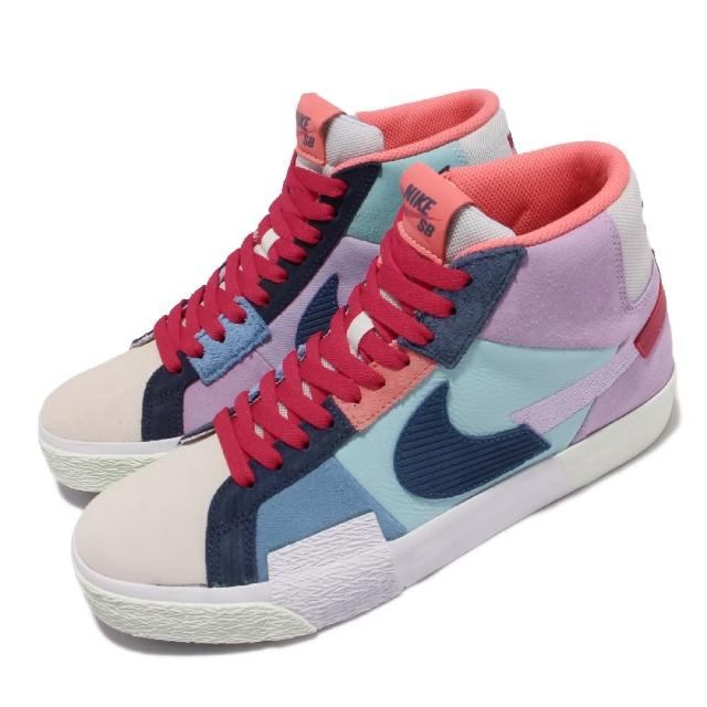 【NIKE 耐吉】滑板鞋 Zoom Blazer Mid 運動 男女鞋 SB 異材質拼接 氣墊 避震 情侶款 藍 紫(DA8854-500)