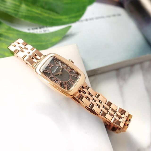 【LICORNE】優雅迷人 復古方形 羅馬刻度 不鏽鋼手錶 灰x鍍玫瑰金 19mm(LT152LRUR)