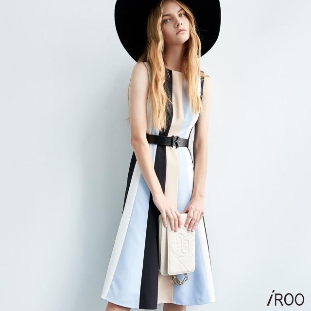 【iROO】拼接 條紋 洋裝