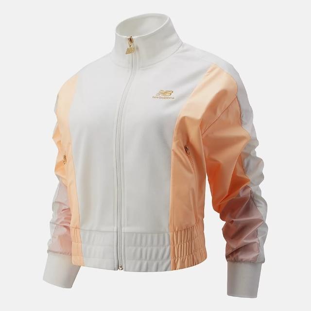 【NEW BALANCE】NB 外套 女款 運動外套 慢跑 短版 白橘 WJ13501SST