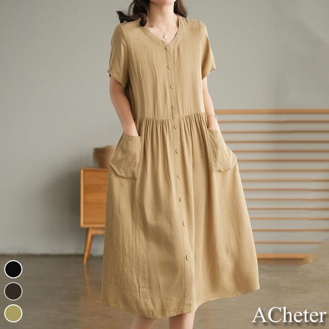 【ACheter】文青佳人漫步寬鬆棉麻全開襟洋裝#110107現貨+預購(3色)