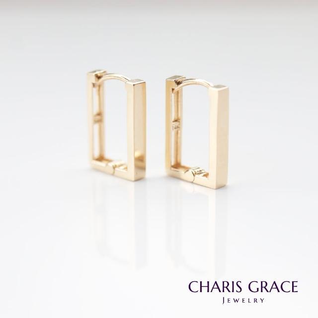 【CHARIS & GRACE 佳立思珠寶】14K Medium Square Lock Earring 方形金耳扣耳環