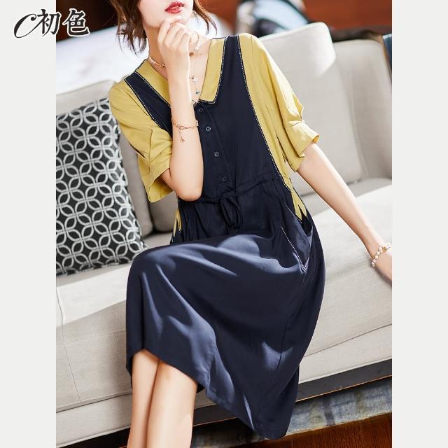 【初色】假兩件拼色連身裙-共2色-99763(M-2XL可選)