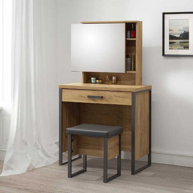 【歐登】化妝台附椅子黃金橡木色DIY組合家具