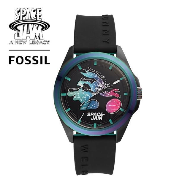【FOSSIL】Space Jam 怪物奇兵 Bugs Bunny 限量套錶組 黑色矽膠錶帶 42MM LE1126SET