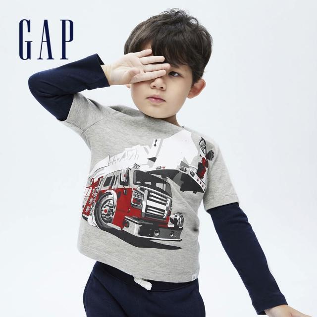 【GAP】男幼童 純棉假兩件印花長袖T恤(732723-灰色)