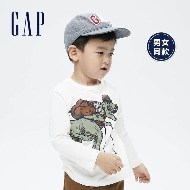 【GAP】男幼童 布萊納系列 純棉創意印花長袖T恤(732718-白色)