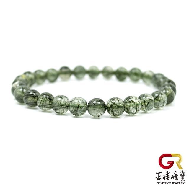 【正佳珠寶】綠髮晶 細紋細絲手珠 6.5mm 綠髮晶手珠|日本彈力繩(正財寶石)