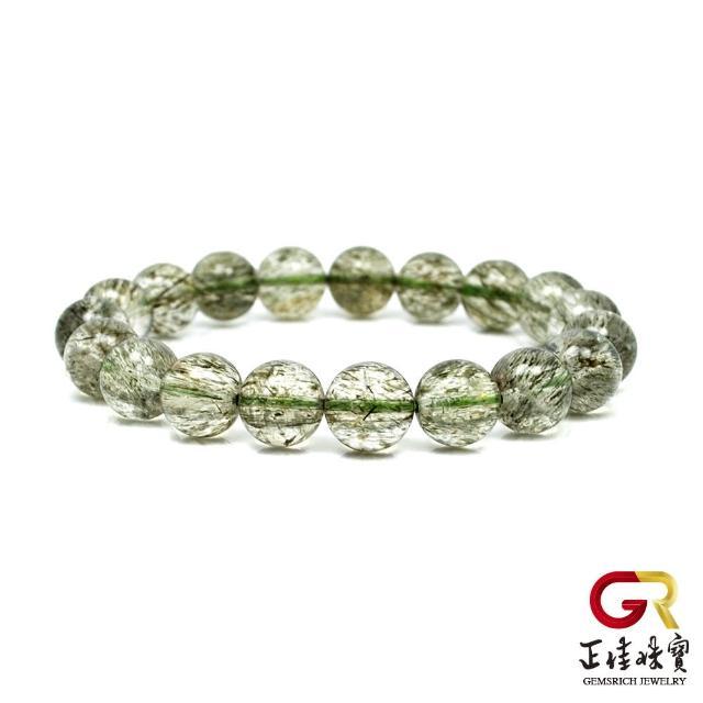 【正佳珠寶】綠碧璽髮晶 潤養碧璽髮手珠 10mm|日本彈力繩(少見寶石)