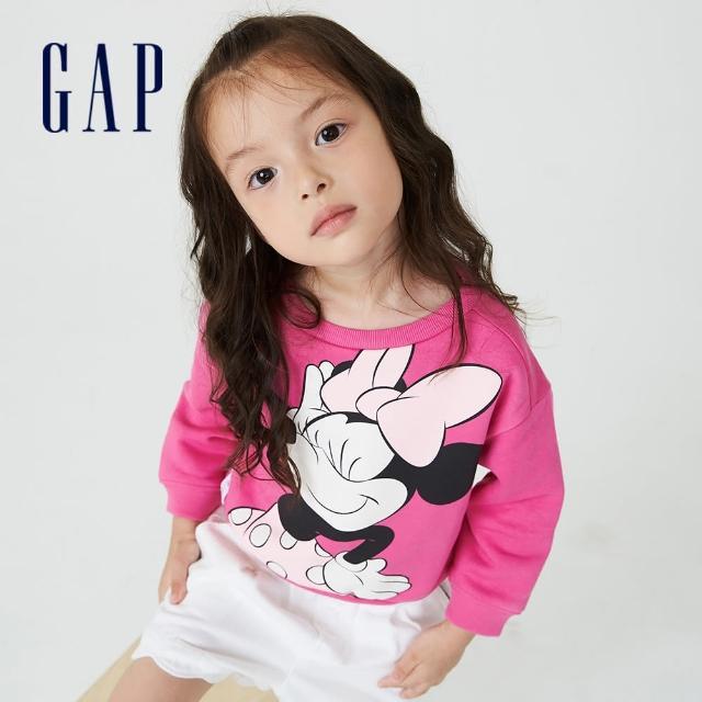 【GAP】女幼童 Gap x Disney 迪士尼系列印花刷毛休閒上衣(731718-玫紅色)