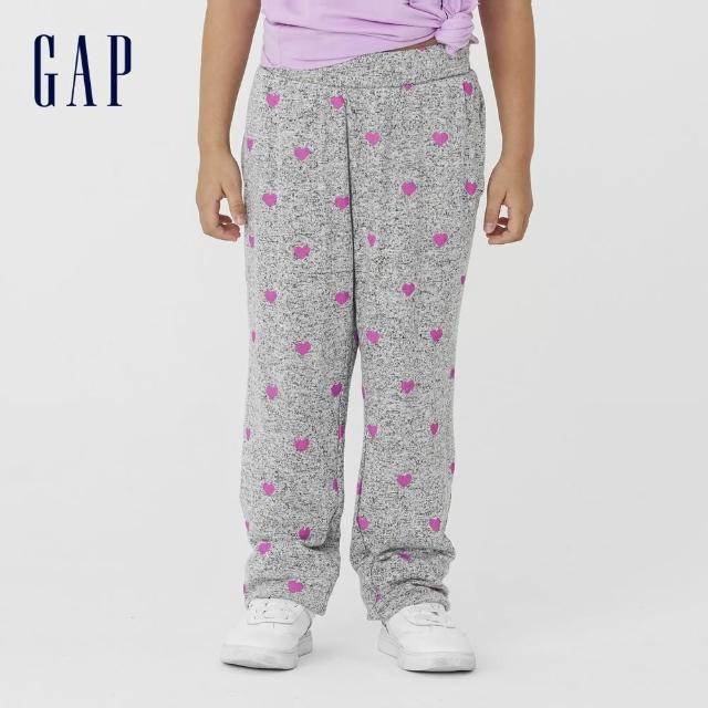 【GAP】女童 可愛寬鬆針織長褲(731191-灰底印花)