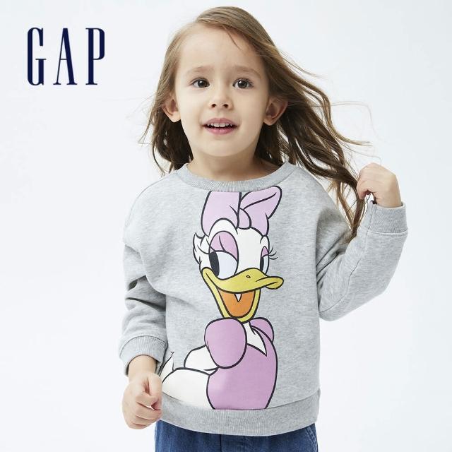 【GAP】女幼童 Gap x Disney 迪士尼系列印花刷毛休閒上衣(731718-灰色)