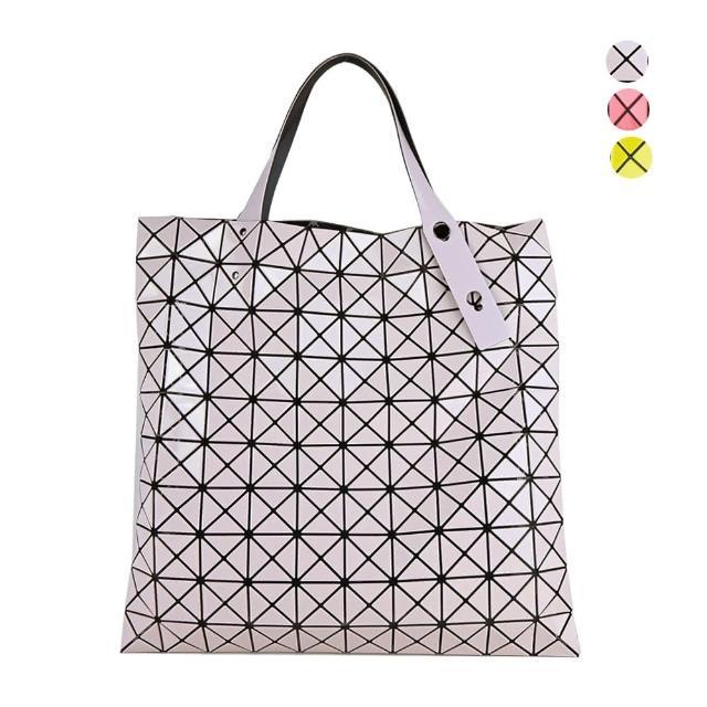 【ISSEY MIYAKE 三宅一生】幾何方格10x10亮面手提包(任選)
