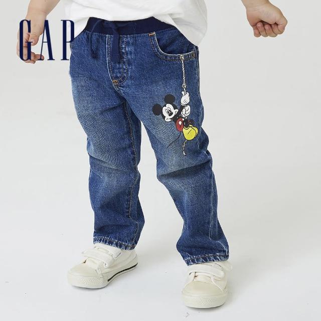 【GAP】男幼童 Gap x Disney 迪士尼系列印花直筒牛仔褲(708137-深色水洗)