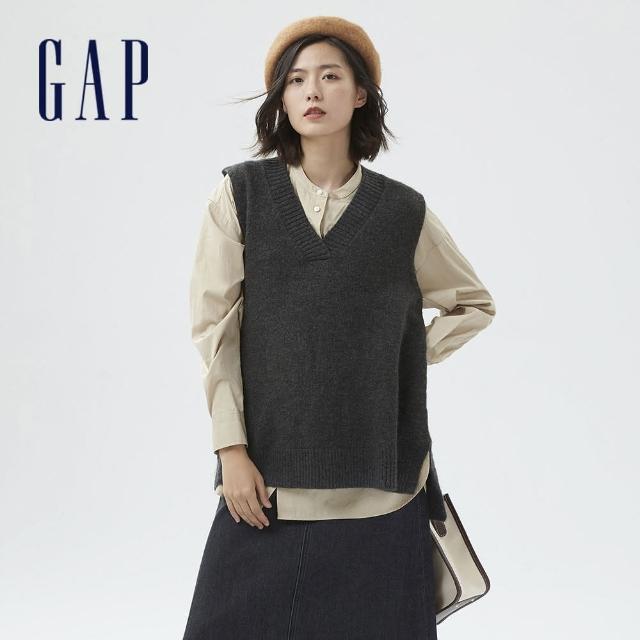 【GAP】女裝 羊毛混紡V領無袖毛衣(703921-炭灰色)