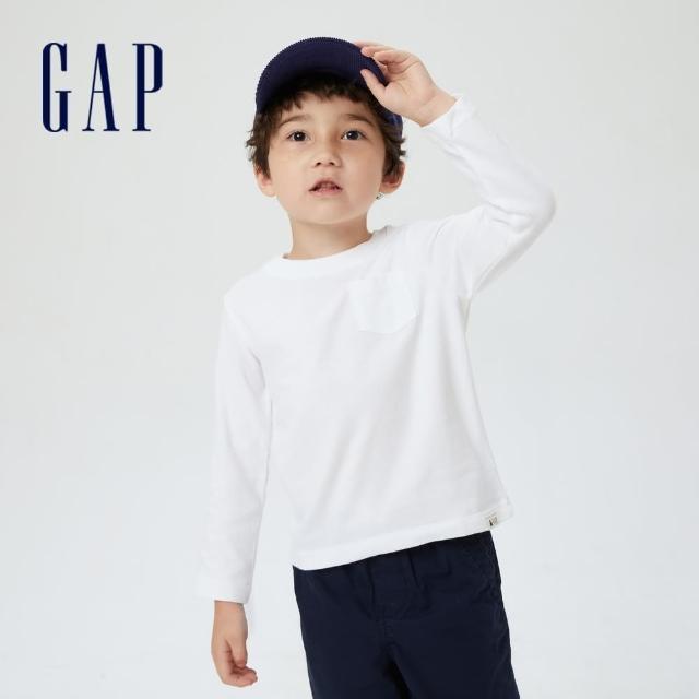 【GAP】男幼童 布萊納系列 基本款純棉長袖T恤(669934-白色)