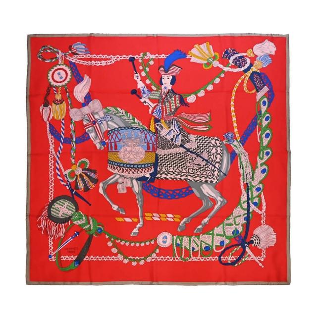 【Hermes 愛馬仕】Le Timbalier 騎士鼓手真絲方巾(紅)