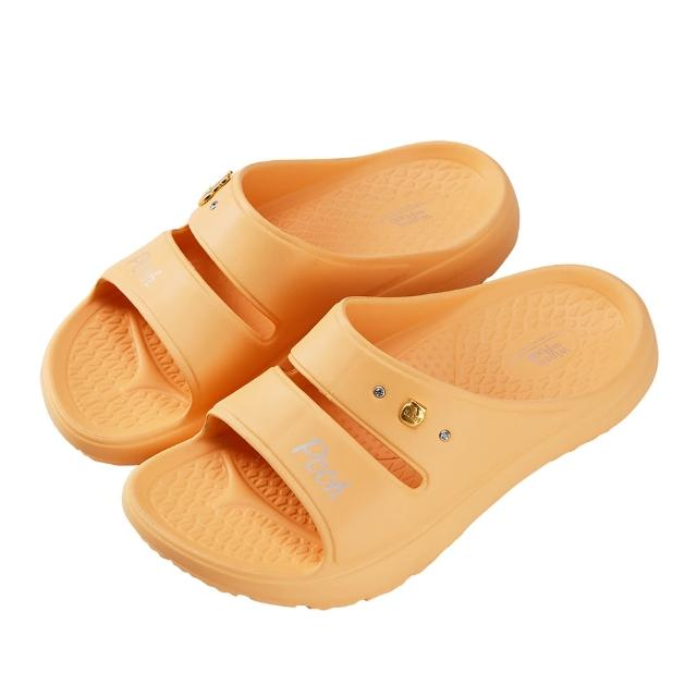 【Disney 迪士尼】迪士尼女鞋 小熊維尼 運動風輕量防水厚底拖鞋-黃(MIT台灣在地工廠製造)