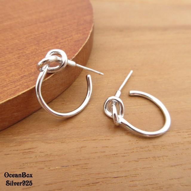 【海洋盒子】亮面拋光C型扭結925純銀耳環(925純銀外鍍專櫃級正白K)