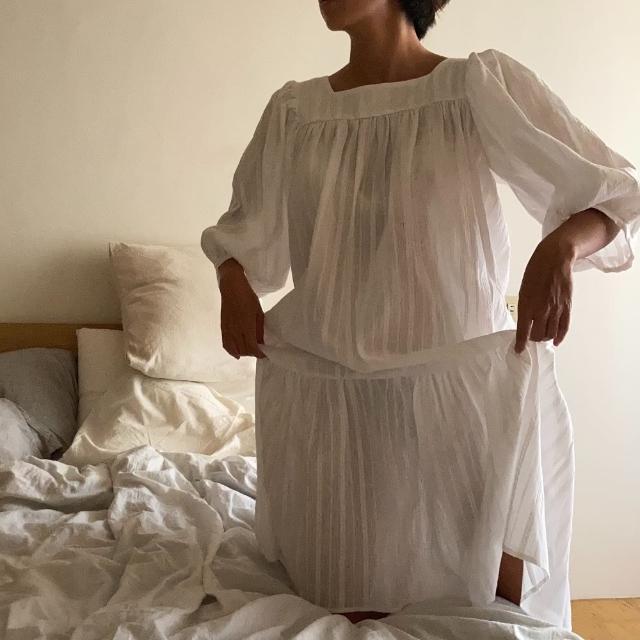 【PizzaCutFive】方領泡泡袖壓摺長洋裝/睡衣/居家服(居家必備:好眠睡衣)