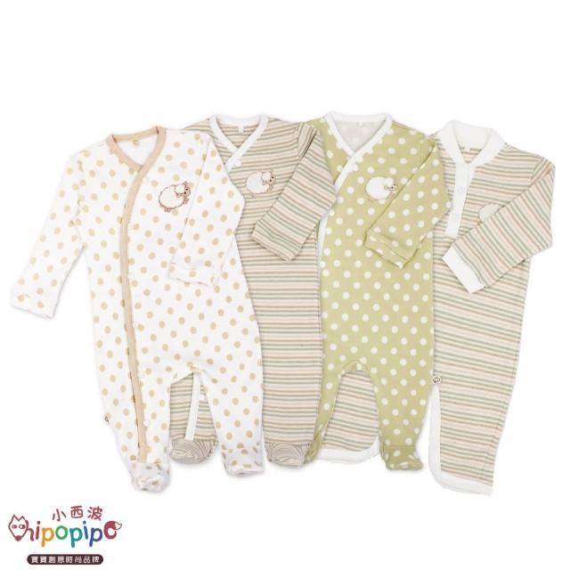 【hipopipo 小西波】羊羊系列長袖連身衣(寶寶連身衣 嬰兒 包腳衣)