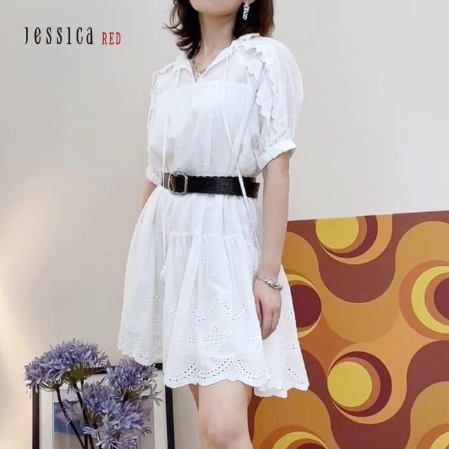 【Jessica Red】甜美寬鬆舒適棉質短袖洋裝(白)