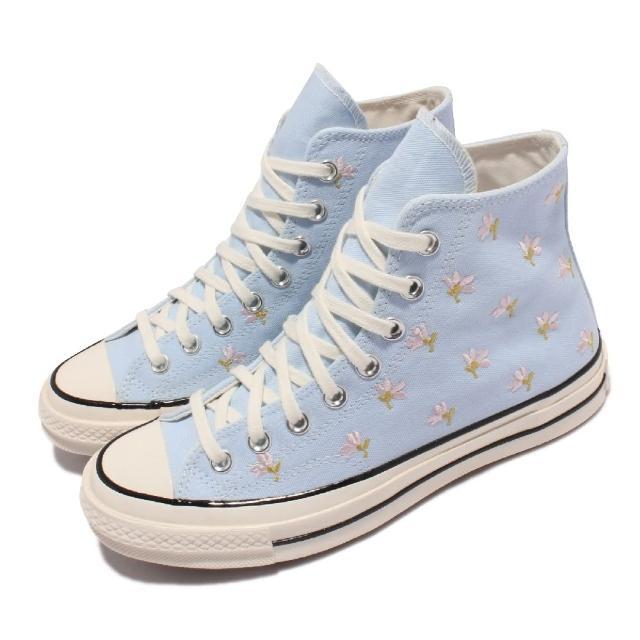 【CONVERSE】休閒鞋 All Star 高筒 穿搭 女鞋 基本款 奶油底 三星標 小花刺繡 藍 淺卡其(570917C)