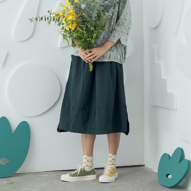 【MOSS CLUB】斜切線三角形裙-女七分裙 素色 黑 綠 咖(三色/版型合身)