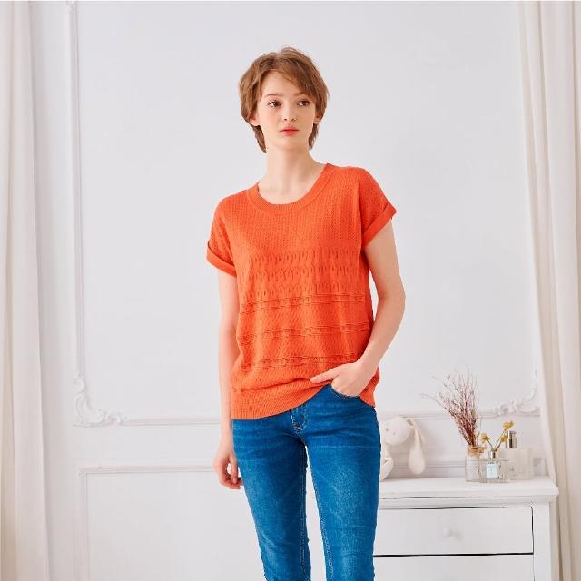【KiKi】休閒紋路反褶-女短袖針織衫 素色 藍 桔 灰(三色/魅力商品/版型合身)