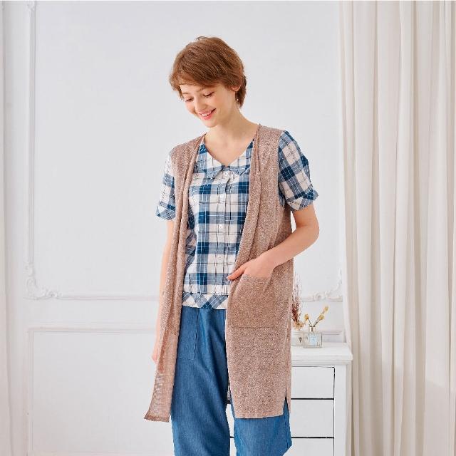 【KiKi】氣質百搭長版-女無袖針織衫 素色 藍 咖(二色/魅力商品/版型合身)