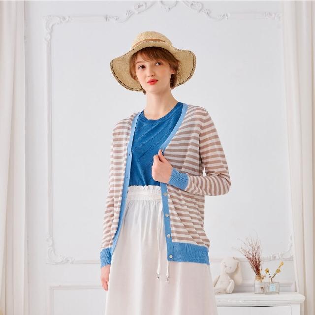 【KiKi】撞色條紋-女長袖針織衫 條紋 藍 灰 綠(三色/魅力商品/版型合身)