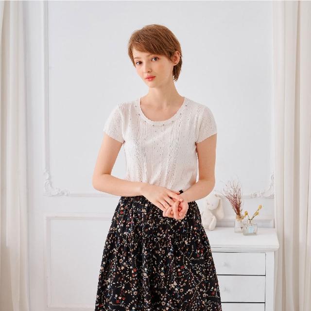 【KiKi】氣質立紋造型-女短袖針織衫 立紋 黑 白 黃(三色/魅力商品/版型合身)