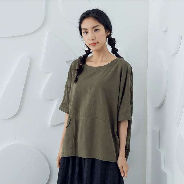 【MOSS CLUB】裝飾線圓領-女五分袖上衣 圓領 黑 白 綠(三色/版型合身)