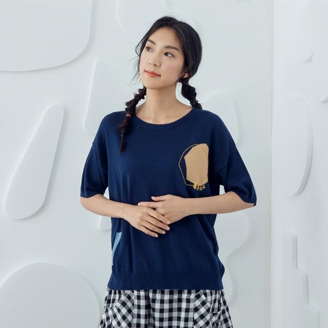 【MOSS CLUB】小草幾何-女短袖針織衫 印花 藍 白 卡(三色/魅力商品/版型合身)