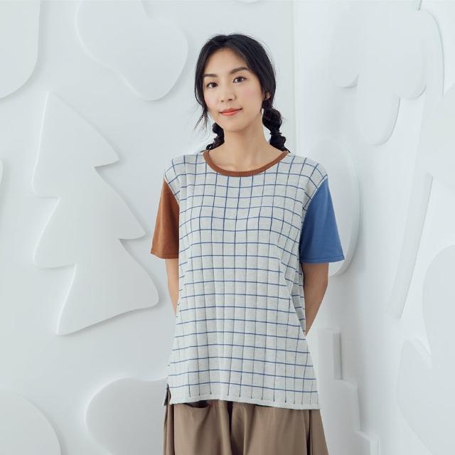 【MOSS CLUB】格紋雙色-女短袖針織衫 格紋 藍 白 米(三色/魅力商品/版型合身)