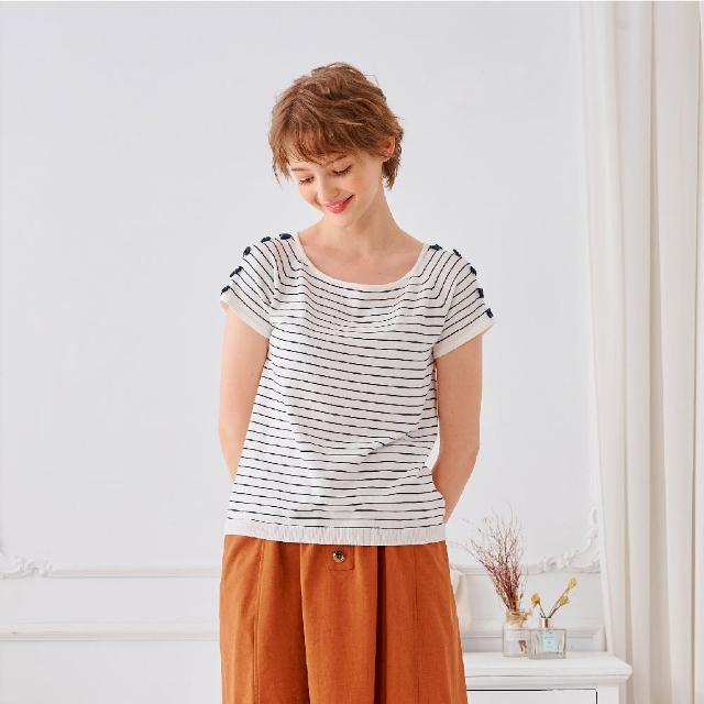 【KiKi】百搭條紋方領-女短袖針織衫 條紋 藍 綠 桔(三色/魅力商品/版型合身)