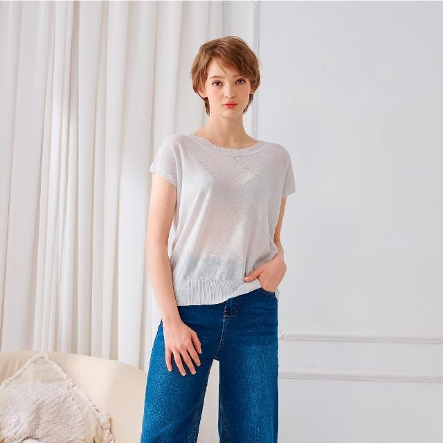 【KiKi】連袖蕾絲圓領-女短袖針織 蕾絲 黑 白 駝(三色/魅力商品/版型合身)