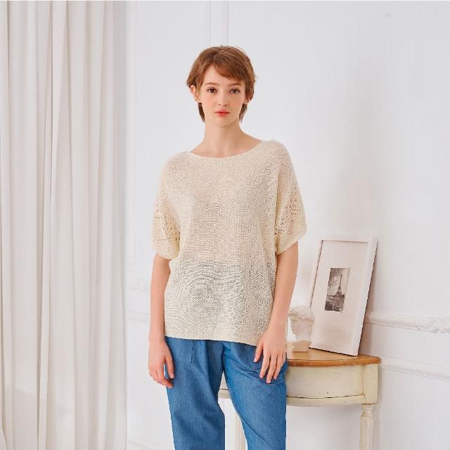 【KiKi】休閒微透膚純色-女短袖針織衫 透膚 藍 綠 米(三色/魅力商品/版型合身)