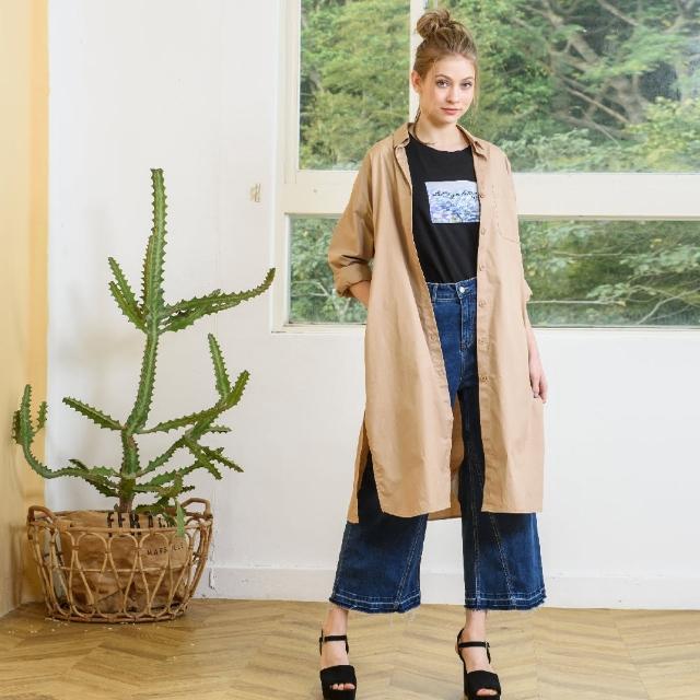 【KiKi】慵懶寬鬆長版襯衫-女長袖外套 長版 卡(卡色/版型合身)