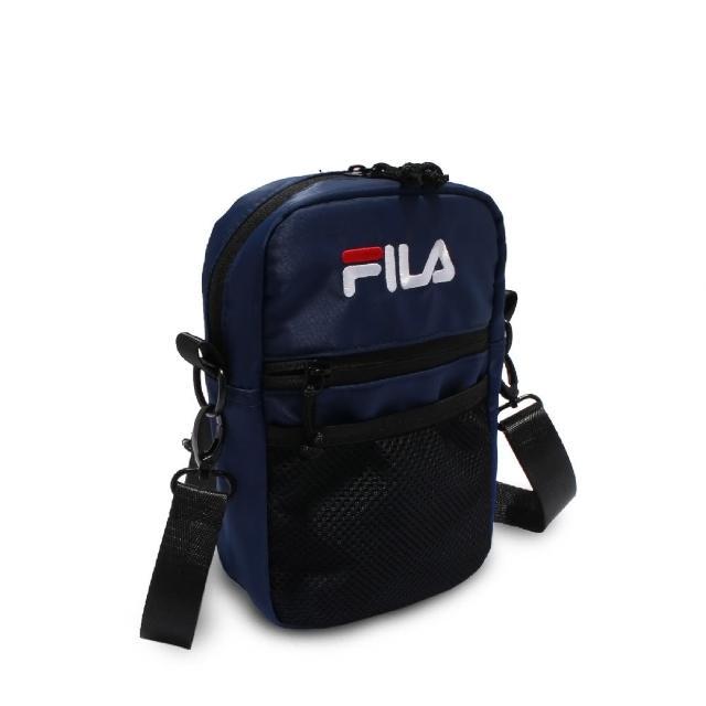 【FILA】斜背包 Pocket Shoulder Bag 斐樂 外出 輕便 手機包 穿搭 藍 黑(BMV7009NV)