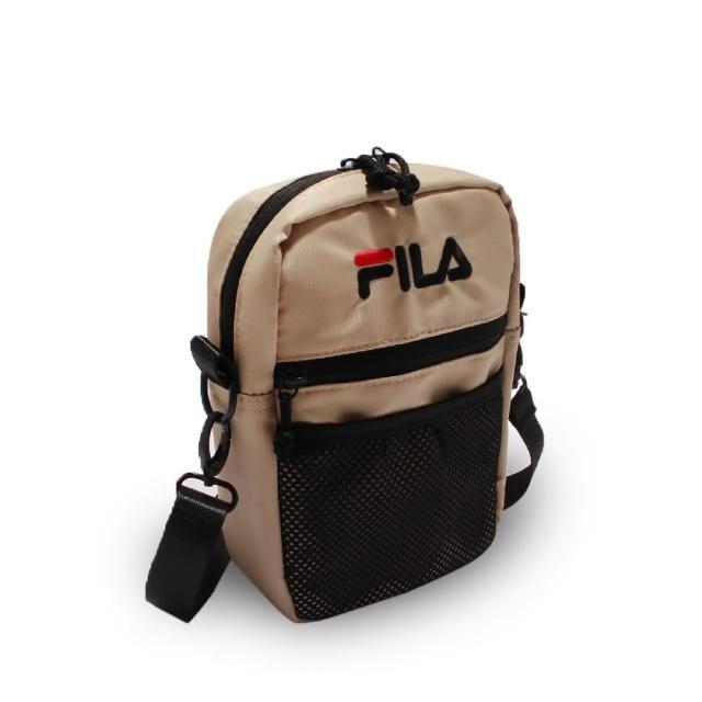 【FILA】斜背包 Pocket Shoulder Bag 斐樂 外出 輕便 手機包 穿搭 淺褐 黑(BMV7009KK)