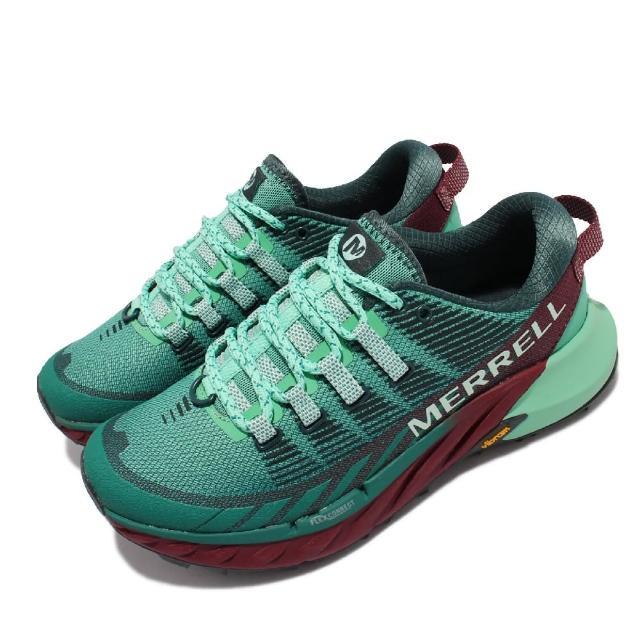 【MERRELL】慢跑鞋 Agility Peak 4 女鞋 彈性 支撐 回彈 耐磨 黃金大底 綠 棕(ML135114)