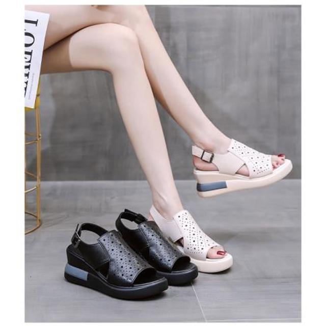 【A3】百搭厚底增高軟皮透氣涼鞋(柔軟舒適透氣鞋.百搭款)