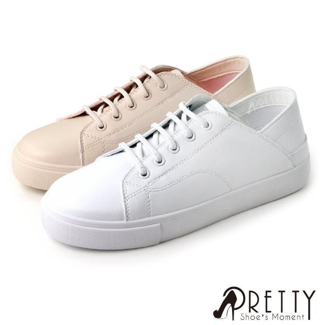 【Pretty】小清新圓頭兩穿式休閒穆勒鞋/小白鞋(粉紅、白色)