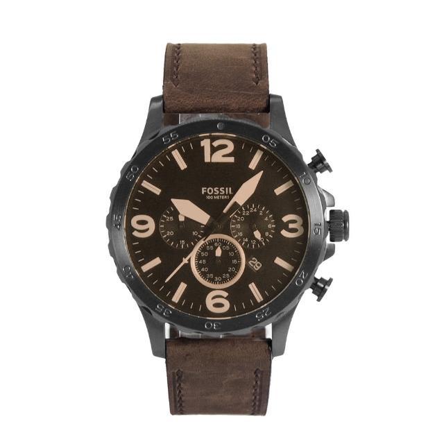 【FOSSIL】咖啡色系大錶盤 三眼計時 皮革錶帶 父親節禮物首選(JR1487)