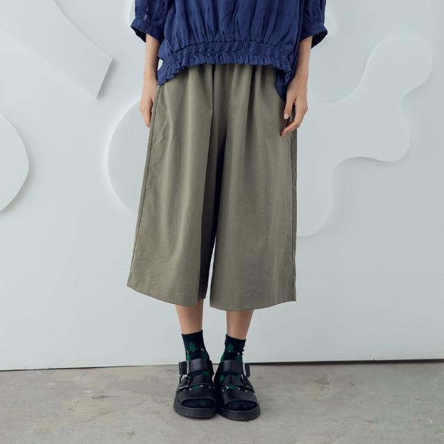 【MOSS CLUB】涼感無重力寬版-女長褲 素色 黑 綠(二色/版型寬大)